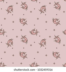 Cute illustration for childrens textile. Seamless pattern. Soft pink color.