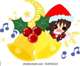 The cute illustration of Christmas and a girl -Jingle Bells-