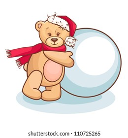 Cute Illustration Of Christmas Teddy Bear And Snowball, for xmas design.