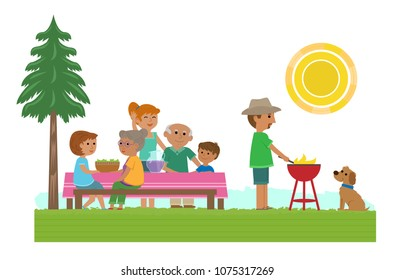 Cute illustration of a family having a picnic. Eps10