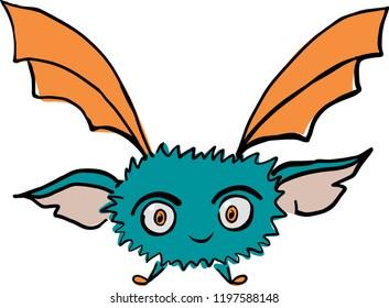 Cute illustration of flying bat