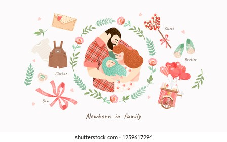 cute illustration of a happy family with a small baby in a flower frame, vector isolated objects for congratulations on a newborn