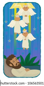 Cute illustration of Jacob sleeping and angels are going up and down a ladder. Eps10
