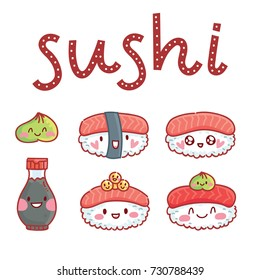 Cute illustration with lettering calligraphy text Sushi with soy sauce and wasabi. Print, banner, poster design