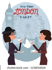 Cute illustration of London landmarks and characters. 5 o'clock in London, Tea time card. Editable vector illustration
