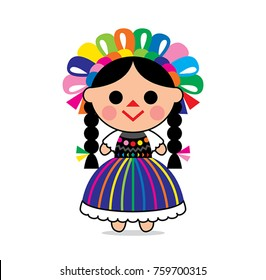 cute illustration of a Mexican doll character