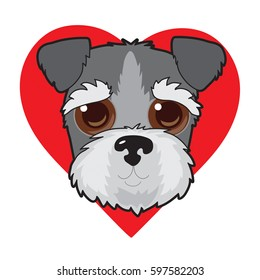 A cute illustration of a Schnauzer face with a red heart in the background