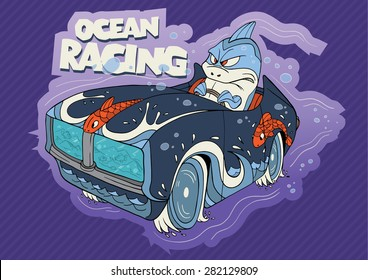 Cute illustration of a shark driver character driving aquarium style comic car