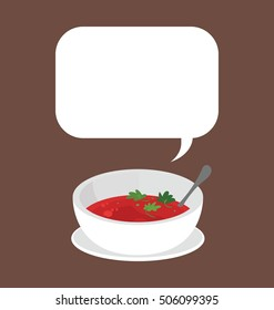 Cute illustration of the single food portion. Simple bowl of the bright red tomato soup whit the parsley on top. Delicious vegetarian food whit big text box on the top of the image.