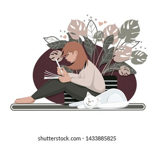 cute illustration with sitting girl writes on paper  near white sleeping cat and homeplant vector isolated