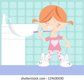 Cute illustration of small girl in her pyjamas brushing her teeth