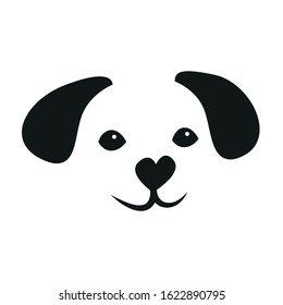 Cute illustration of a stylized smiling face of a dog puppy in black and white with a heart as snout