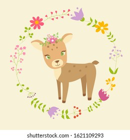 Cute illustration with sweet fawn. Ideal for greeting card, poster, decoration of birtday party, baby shower.