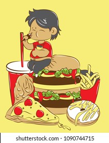 Cute illustration vector of man who eat a lot of burger, soda, doughnut, pizza, french fries, and chicken