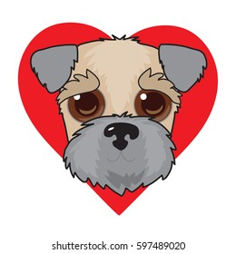 A cute illustration of a Wheaten Terrier face with a red heart in the background
