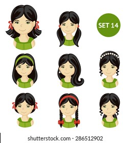 Cute illustrations of little girls with various hair style. Set of children's faces. Girls with dark hair.