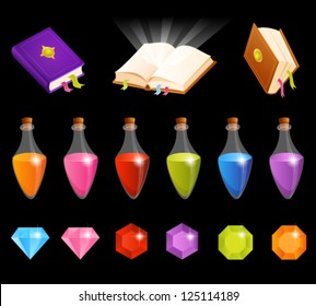 cute illustrations with magic theme - transparency of flasks with potion and glow above the open book is suitable for dark background
