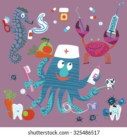 Cute image for kids about healthy and diseased teeth. Dentists in a funny and kind of marine life. Cheerful set for pediatric dentistry.