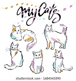 """Cute images of cats silhouettes in various poses. Images and the inscription """"My cats"""" are drawn by hand."""