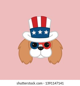 Cute Independence Day of 4th July Blenheim Cavalier King Charles Spaniel Head Wears Uncle Sam's Hat Cartoon Vector Illustration