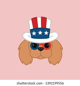 Cute Independence Day of 4th July Ruby Cavalier King Charles Spaniel Head Wears Uncle Sam's Hat Cartoon Vector Illustration
