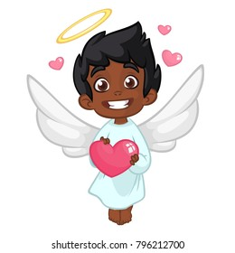 Cute Indian or Arab Boy Cupid  Hugging a Heart. Cartoon illustration of Cupid character for St Valentine's Day isolated on white