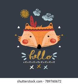 cute indian baby fox/hand drawn vector illustration/can be used for kid's or baby's shirt design/ fashion print design/ fashion graphic/ t-shirt/ kids wear/tee
