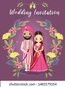 cute Indian bride and groom with floral wreath for wedding invitation card