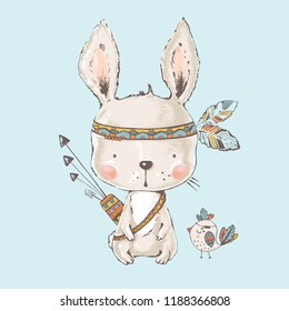 Cute indian Bunny.cartoon hand drawn vector illustration. Can be used for t-shirt print,kids wear fashion design,baby shower invitation card