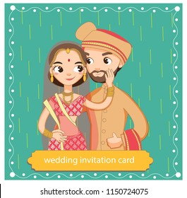 cute indian couple in traditional dress on wedding invitations card