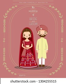 cute indian couple in traditional dress for wedding invitations card, vector isolated with background