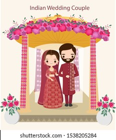 cute Indian couple in traditional dress  standing under the wedding Mandap, vector isolated with background