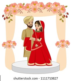 cute indian couple in traditional wedding dress standing under the wedding mandap, vector isolated with white background, wedding invitations card concept.