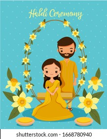 Cute Indian couple in yellow traditional dress for Haldi ceremony on their wedding day,cartoon character