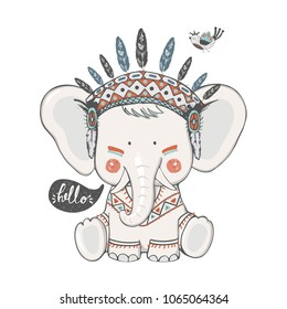 cute indian Elephant in Indian headband and bird./hand drawn vector illustration/can be used for kid's or baby's shirt design/ fashion print design/ fashion graphic/ t-shirt/ kids wear