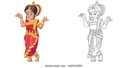 Cute Indian girl dancing. Coloring page and colorful clipart character. Cartoon design for t shirt print, icon, logo, label, patch or sticker. Vector illustration.