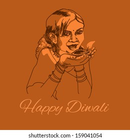 Cute indian girl with diwali light. Nice card for your design in vintage style