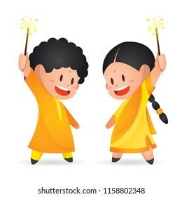 Cute indian kids enjoying firecracker celebrating Diwali/Deepavali in vector