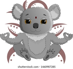 Cute Indian Koala meditates with a pattern on the background.