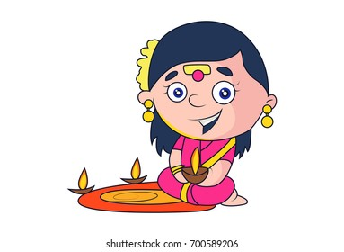 Cute Indian Lady Priest Character lighting the Diya. Vector Illustration Isolated on white background