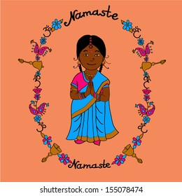 Cute indian little girl with colorfull frame in cartoon style for your design