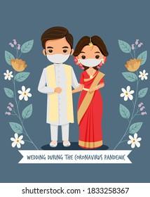 Cute Indian Wedding Couple with Face Mask for wedding during coronavirus epidemic