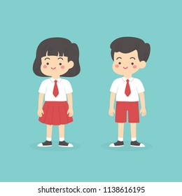 Cute Indonesian Elementary School Boy Girl Wearing Red and White Uniform Cartoon Vector Illustration