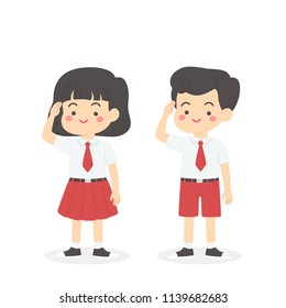 Cute Indonesian Elementary School Boy Girl Student Wearing Red and White Uniform Giving Salute Independence Day Cartoon Vector Illustration