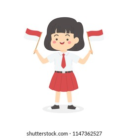 Cute Indonesian Elementary School Girl Student with Red and White Uniform Holding Flag, Indonesia Independence Day Cartoon Vector Illustration