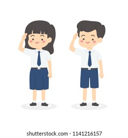 Cute Indonesian Junior High School Boy Girl Student Wearing Blue and White Uniform Giving Salute Independence Day Cartoon Vector Illustration