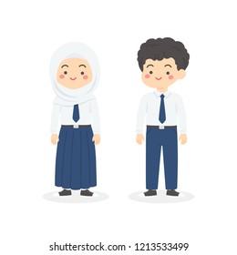 Cute Indonesian Junior High School Boy Girl Wearing Blue and White Uniform Cartoon Vector Illustration