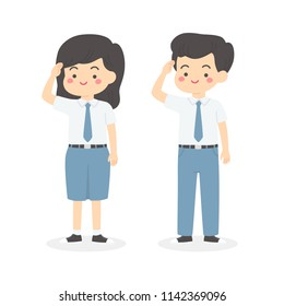 Cute Indonesian Senior High School Boy Girl Student Wearing Gray and White Uniform Giving Salute Independence Day Cartoon Vector Illustration