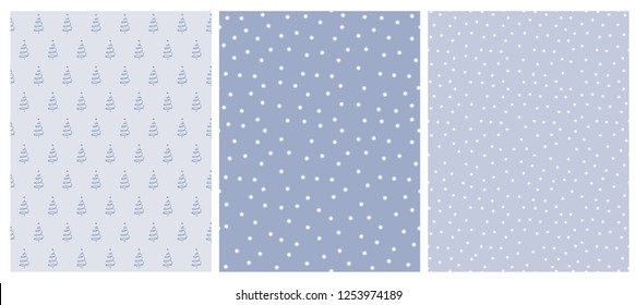 Cute Infantile Style White Christmas Trees and Stars Vector Pattern. White and Blue Simple Design. Blue Background. Abstract Forest Illustration.