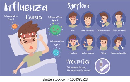 Cute infographic of influenza disease